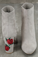 Gitana Light Grey Suede Embroidered Mid-Calf Boots 3