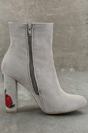 Gitana Light Grey Suede Embroidered Mid-Calf Boots 4