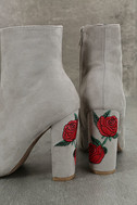 Gitana Light Grey Suede Embroidered Mid-Calf Boots 8