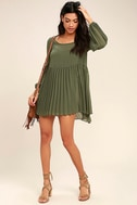Aim to Pleats Olive Green Long Sleeve Dress 2