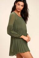 Aim to Pleats Olive Green Long Sleeve Dress 3