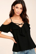 Sing It Now Black Off-the-Shoulder Top 1