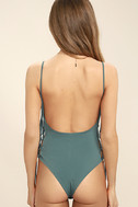 Exception to the Rule Teal Green Lace-Up Bodysuit 5