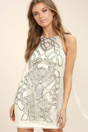 New Friends Colony Showstopper White Beaded Sheath Dress 3