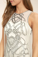 New Friends Colony Showstopper White Beaded Sheath Dress 5