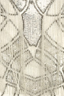 New Friends Colony Showstopper White Beaded Sheath Dress 6