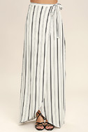Vacay Bae Black and White Striped Wrap Maxi Skirt 3