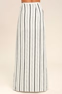 Vacay Bae Black and White Striped Wrap Maxi Skirt 4