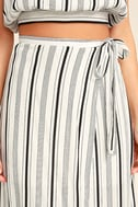 Vacay Bae Black and White Striped Wrap Maxi Skirt 5
