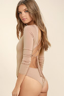 Meant for You Blush Lace-Up Bodysuit 4