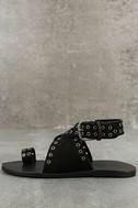Matisse Starling Black Leather Ankle Strap Flat Sandals 2