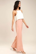Welcoming Committee Blush Pink Wide-Leg Pants 1