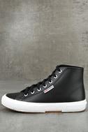 Superga 2795 FGLU Black Leather High-Top Sneakers 2