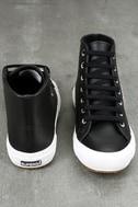 Superga 2795 FGLU Black Leather High-Top Sneakers 3