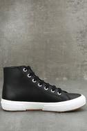 Superga 2795 FGLU Black Leather High-Top Sneakers 4