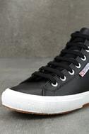 Superga 2795 FGLU Black Leather High-Top Sneakers 6