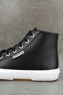 Superga 2795 FGLU Black Leather High-Top Sneakers 7