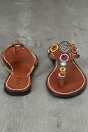 Mia Apache Brown Bright Multi Beaded Thong Sandals 3