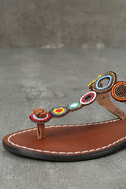 Mia Apache Brown Bright Multi Beaded Thong Sandals 6