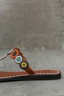 Mia Apache Brown Bright Multi Beaded Thong Sandals 7