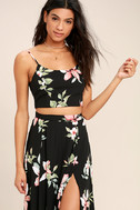 Barefoot at the Beach Black Floral Print Two-Piece Maxi Dress 4