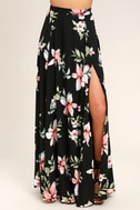 Barefoot at the Beach Black Floral Print Two-Piece Maxi Dress 5