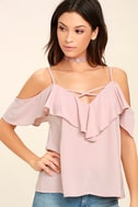 Sing It Now Blush Pink Off-the-Shoulder Top 1