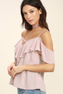 Sing It Now Blush Pink Off-the-Shoulder Top 3