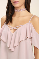 Sing It Now Blush Pink Off-the-Shoulder Top 5