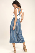 Mink Pink Tangier Blue Print Cropped Overalls 3