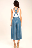 Mink Pink Tangier Blue Print Cropped Overalls 4