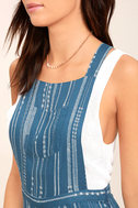 Mink Pink Tangier Blue Print Cropped Overalls 5