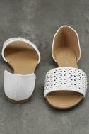 Voleta White Cutout Peep-Toe Flats 3