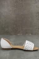 Voleta White Cutout Peep-Toe Flats 4