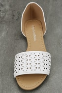 Voleta White Cutout Peep-Toe Flats 5