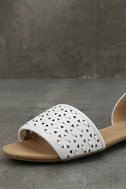 Voleta White Cutout Peep-Toe Flats 6