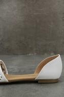 Voleta White Cutout Peep-Toe Flats 7