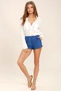 BB Dakota Watkin Blue Embroidered Shorts 3