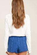BB Dakota Watkin Blue Embroidered Shorts 4