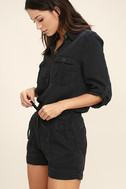Everyday Holiday Washed Black Romper 3