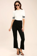 College Try Black and White Striped Top 2