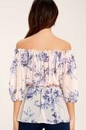 Sunny Honey Light Pink Floral Print Off-the-Shoulder Top 4