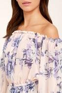 Sunny Honey Light Pink Floral Print Off-the-Shoulder Top 5