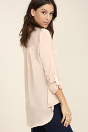 Boss Lady Light Peach Satin Button-Up Top 3