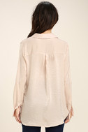 Boss Lady Light Peach Satin Button-Up Top 4