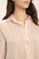 Boss Lady Light Peach Satin Button-Up Top 5