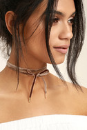 Lock it Up Brown Velvet Wrap Necklace 1