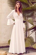 Enchanted Evening White Lace Maxi Dress 2