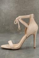 Kate Nude Suede Ankle Strap Heels 2