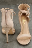 Kate Nude Suede Ankle Strap Heels 3